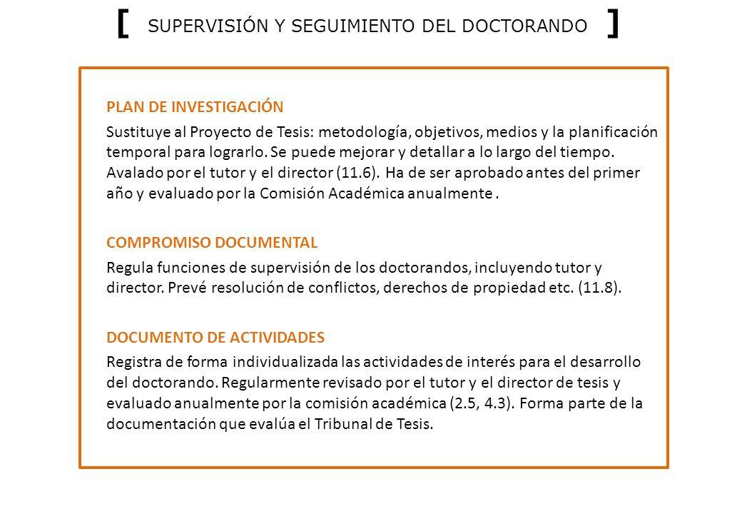 [ SUPERVISIÓN Y SEGUIMIENTO DEL DOCTORANDO ]